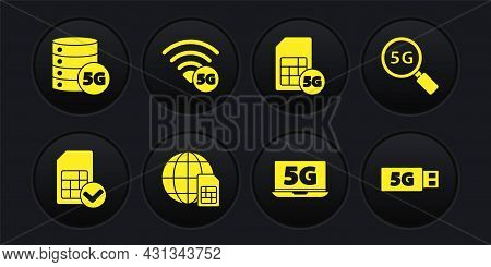 Set Sim Card, Search 5g Network, Globe Card, Laptop With, Modem And Server Icon. Vector