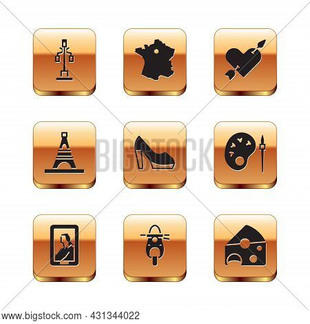 Set Street Light, Portrait In Museum, Scooter, Woman Shoe, Eiffel Tower, Amour With Heart And Arrow,
