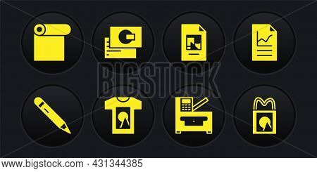 Set Pencil With Eraser, Document Graph Chart, T-shirt, Copy Machine, File Document, Business Card, P