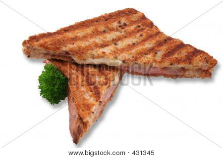 Toasted Ham And Cheese Sandwich Isolated