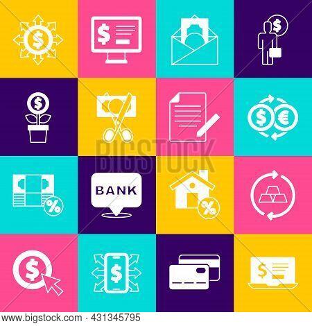 Set Laptop With Dollar, Gold Bars, Money Exchange, Envelope Symbol, Scissors Cutting Money, Dollar P