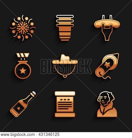 Set Western Cowboy Hat, Declaration Of Independence, George Washington, Firework, Champagne Bottle,