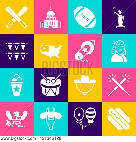 Set Hotdog Sandwich, Sparkler Firework, Benjamin Franklin, American Football Ball, Usa Map, Carnival