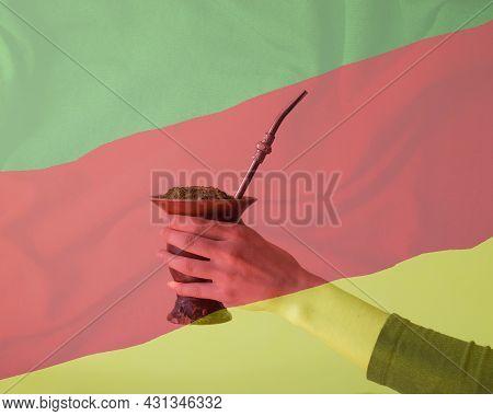 A Gourd Of Yerba Mate With The Rio Grande Do Sul Flag