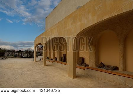 Derbent. Russia. April 09, 2021. The Architecture Of The Ancient Kirkhlyar City Cemetery, Where 40 C