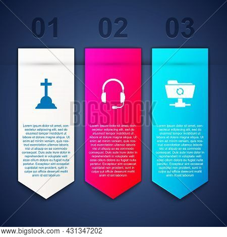 Set Tombstone With Cross, Headphones Microphone And Ftp Sync Refresh. Business Infographic Template.