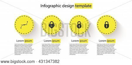 Set Bezier Curve, Castle In The Shape Of Heart, Lock And . Business Infographic Template. Vector