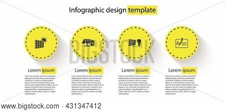 Set Solar Energy Panel And Sun, Battery, Light Bulb And Signed Document. Business Infographic Templa