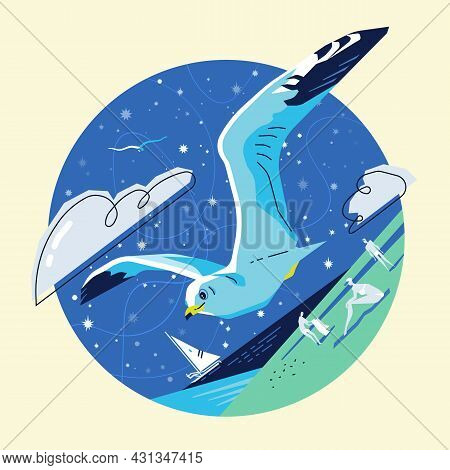 Flying Seagull Over The Sea Against The Background Of The Starry Sky, Yachts And People Who Are Rest