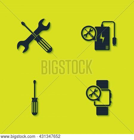 Set Crossed Screwdriver And Wrench, Smartwatch Service, Screwdriver And Power Bank Icon. Vector