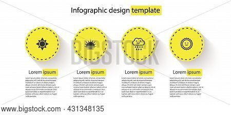 Set Sun, Sunset, Cloud With Rain And . Business Infographic Template. Vector
