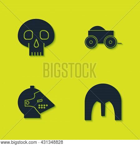 Set Skull, Medieval Iron Helmet, And Wooden Four-wheel Cart Icon. Vector