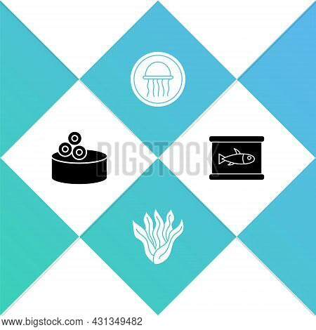 Set Tin Can With Caviar, Seaweed, Jellyfish On Plate And Canned Icon. Vector