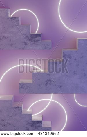 Violet Neon Modern Design Template With Stairs 3d Render And Glowing Circles. Abstract 3d Render Moc