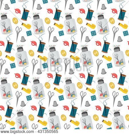 Pattern With Sewing Tools - Buttons, Needles And Centimeter, Thimble. Vector Illustration Isolated O