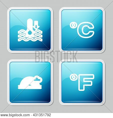Set Line Water Thermometer, Celsius, Rainbow With Cloud And Fahrenheit Icon. Vector