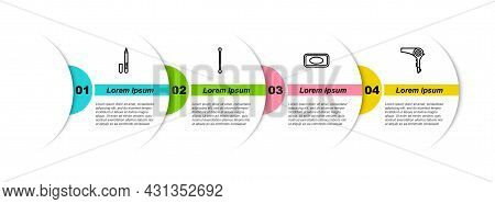 Set Line Eyeliner, Eyebrow, Cotton Swab For Ears, Bar Of Soap And Hair Dryer. Business Infographic T