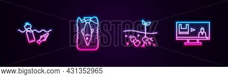 Set Line Problem Pollution Of The Ocean, Stop Plastic, Planet And . Glowing Neon Icon. Vector