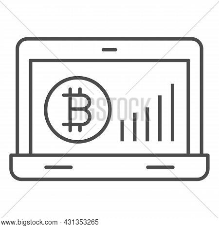 Bitcoin Surge Graph On Laptop Screen Thin Line Icon, Cryptocurrency Concept, Btc Rate Vector Sign On
