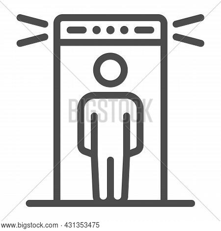 Passenger At Metal Detection Portal Line Icon, Security Check Concept, Metal Detector Vector Sign On