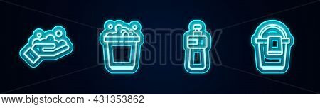 Set Line Washing Hands With Soap, Bucket Suds, Dishwashing Liquid Bottle And Rag. Glowing Neon Icon.