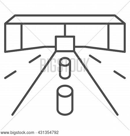 Customs Drive Through, Road, Tollgate Thin Line Icon, Security Check Concept, Custom Entry Vector Si