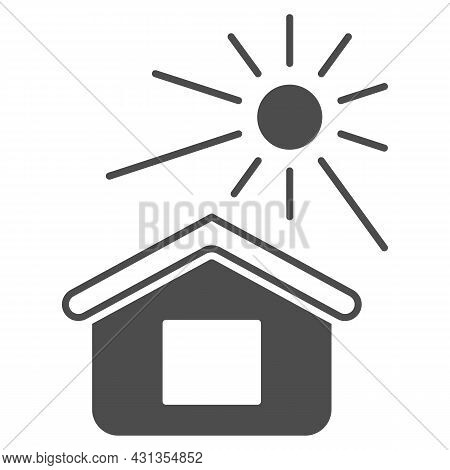 Sun Illuminates The House Solid Icon, Weather And Climate Concept, House And Sunshine Vector Sign On