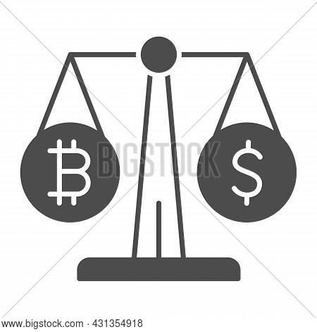 Equivalent Bitcoin And Dollar On Scales Solid Icon, Cryptocurrency Concept, Btc Usd Vector Sign On W