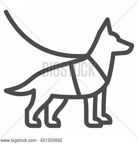 Sniffer Police Dog, Shepherd On Leash Line Icon, Security Check Concept, Service Dog Vector Sign On