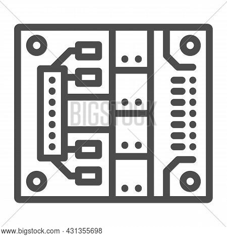Printed Circuit Board With Mounting Slots Line Icon, Electronics Concept, Pcb Vector Sign On White B