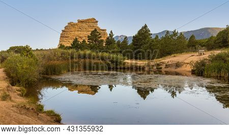 Beautiful Monument Rock Near Monument Town In Colorado