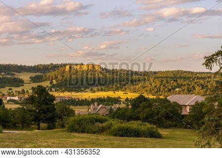Scenic Colorado Landscape Near Monument Town With A View Of Residential Area And Beautiful Rock Form