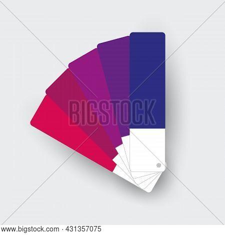 Monochromatic Fan-shaped Palette. Purple Colors. Set Of Different Color Swatches. Vector Icon