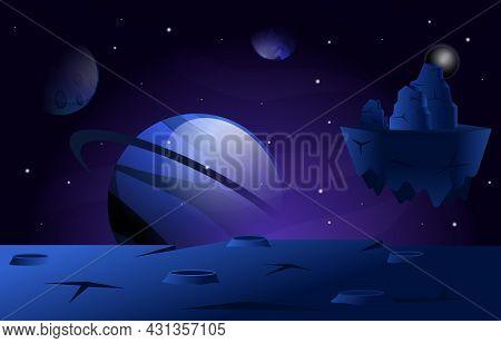 Flying Floating Rock Stone Planet Star Space Exploration Illustration