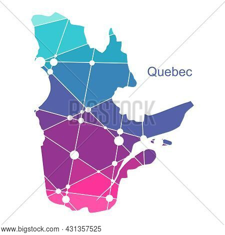 Map Of Quebec. Concept Of Travel And Geography Of Canada.
