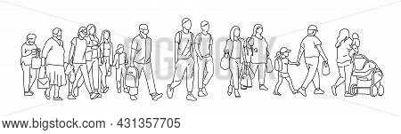 One Line Drawing Of Urban Residents Walking On City Street. Group Of Different People Walking City B