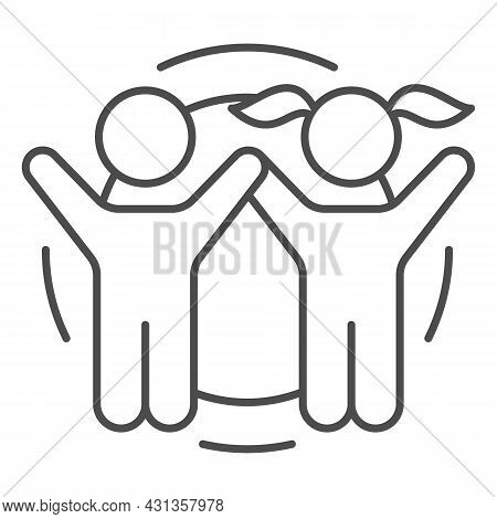 Boy And Girl Rise Hands Towards Sun Thin Line Icon, Nature Concept, Sunshine And Children Vector Sig