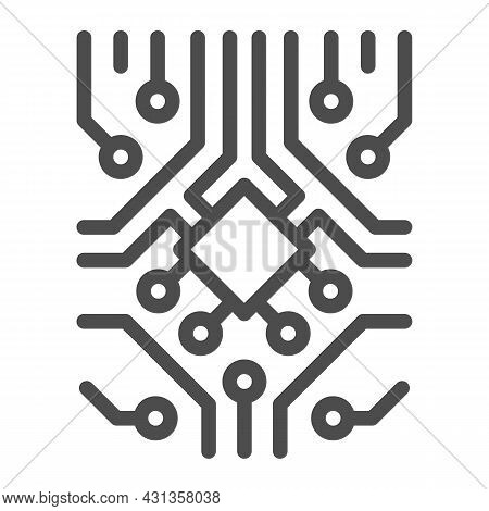 Analog Processor Circuit With Diode And Microchip Line Icon, Electronics Concept, Pcb Vector Sign On