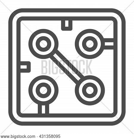 Fragment Of Printed Circuit Board Square Shape Line Icon, Electronics Concept, Pcb Vector Sign On Wh