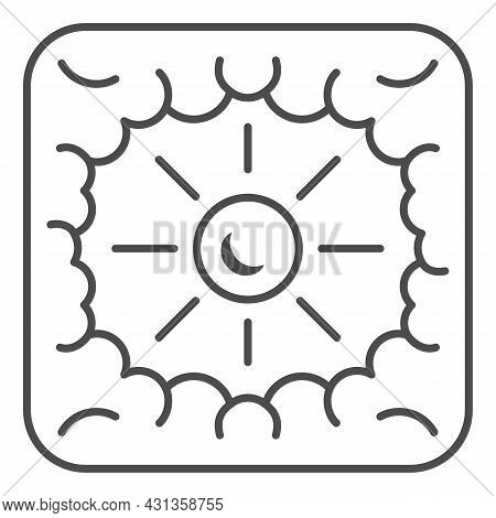 Sun Shine Through Clouds Thin Line Icon, Weather And Climate Concept, Sunshine Cloudy Sky Vector Sig