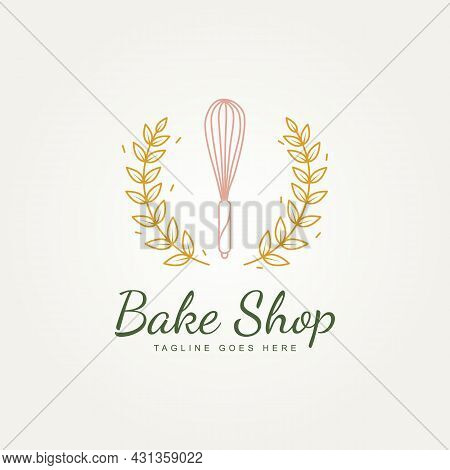 Bakery Shop With Whisk And Wheat Premium Minimalist Line Art Logo Icon Template Vector Illustration