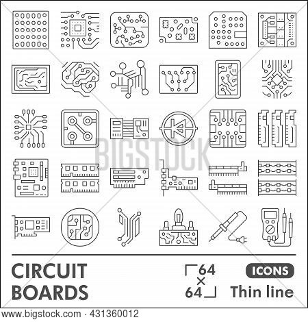 Printed Circuit Board Line Icon Set, Micro Chip Symbols Collection Or Sketches. Pcb Thin Line Linear