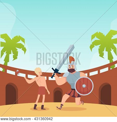 Battle Of Young King David And Giant Goliath, Flat Vector Illustration.