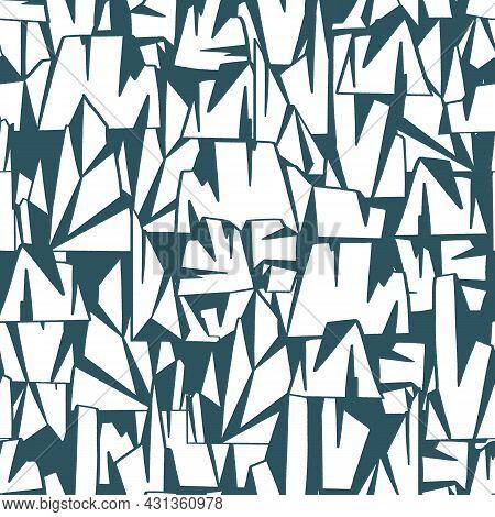 Abstract Iceberg Seamless Pattern Print Winter White Geometric Background