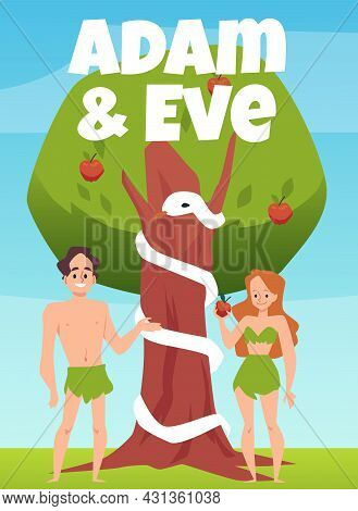Biblical Banner With Eve And Adam Under Tree, Flat Vector Illustration.