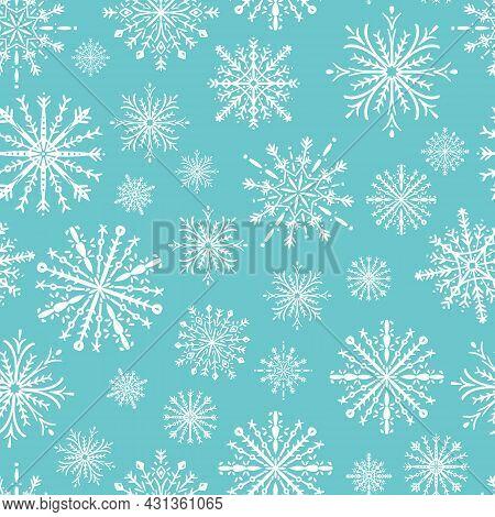 Fabric Christmas Snowflake Seamless Pattern Print Winter White Geometric Abstract Flowers