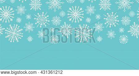 Blue Christmas Snowflake Seamless Border Pattern Print Winter White Geometric Abstract Flowers