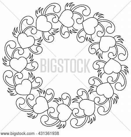 Coloring Book For Adult And Older Children, Round Wreath In The Style Of Doodles. Black And White Ve