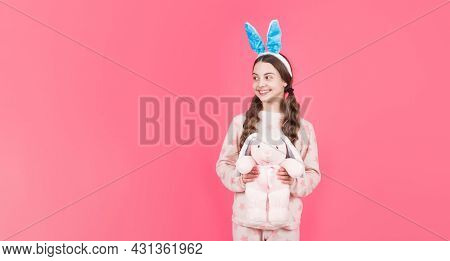 Happy Teen Girl Wear Bunny Ears. Happy Easter. Childhood Happiness. Child In Rabbit Ears And Pajamas