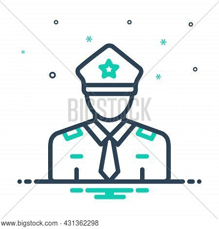 Mix Icon For Guard Secure Enforcer Policeman Cop Protect Security Safety